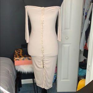 FashionNova Off Shoulder Button Up Dress
